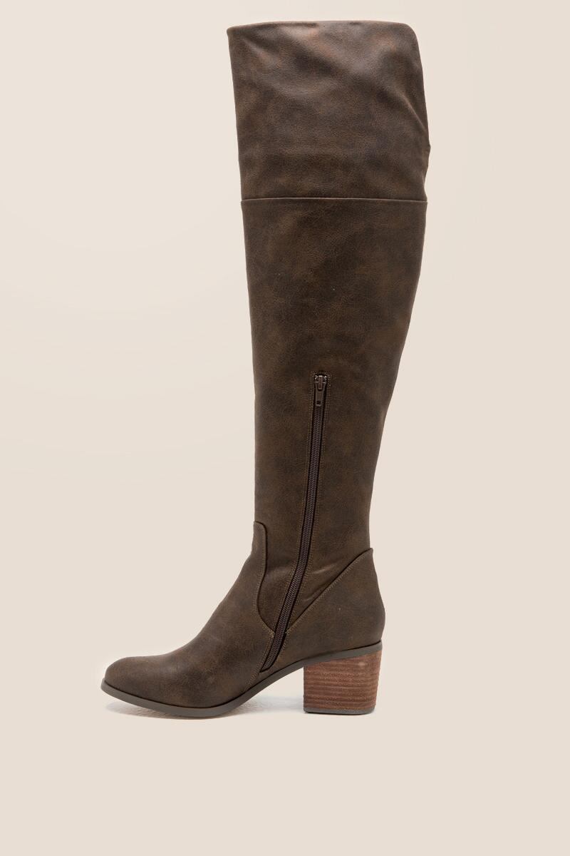 Report - Fisher Distressed Over The Knee Boot-  brwn-clleft
