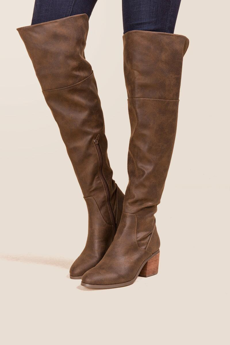 Report - Fisher Distressed Over The Knee Boot-  brwn-clmodel