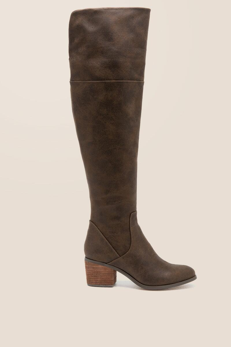 Report - Fisher Distressed Over The Knee Boot-  brwn-clright