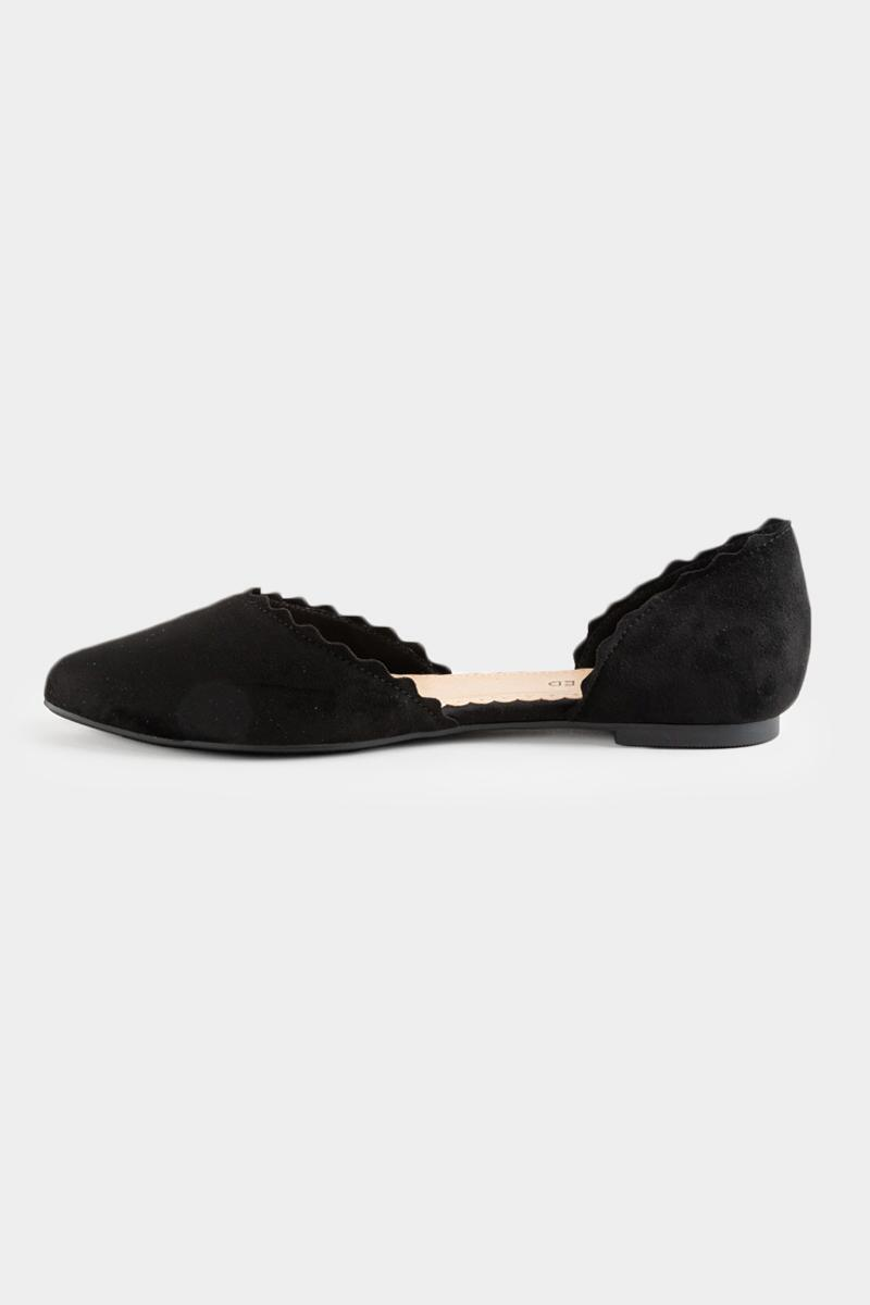 Restricted Scallop Edge Flats-  blk-cl4