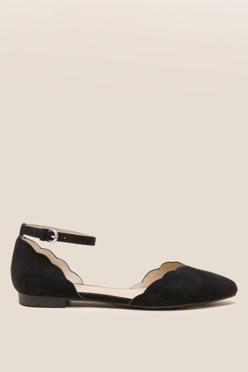 Indigo Rd Gallie Scallop D'Orsay Flat in Black-  blk-clright