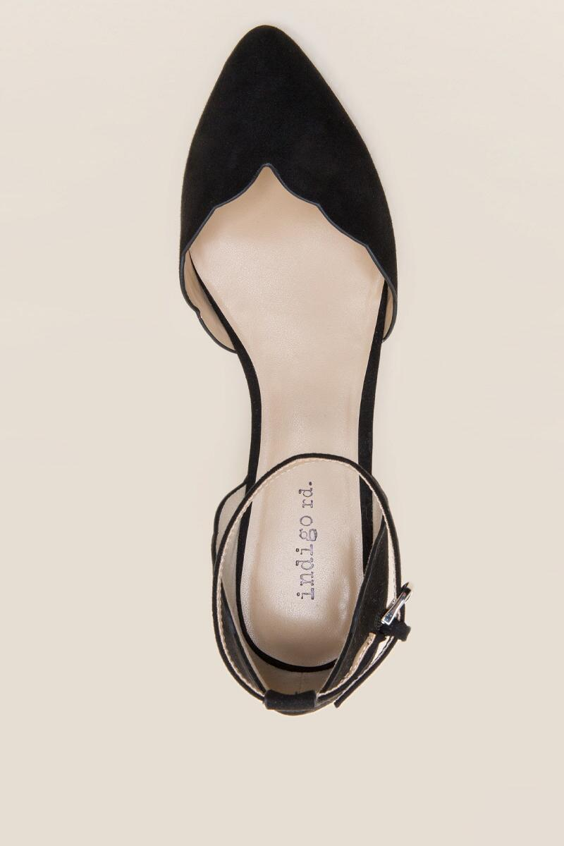 Indigo Rd Gallie Scallop D'Orsay Flat in Black-  blk-cltop