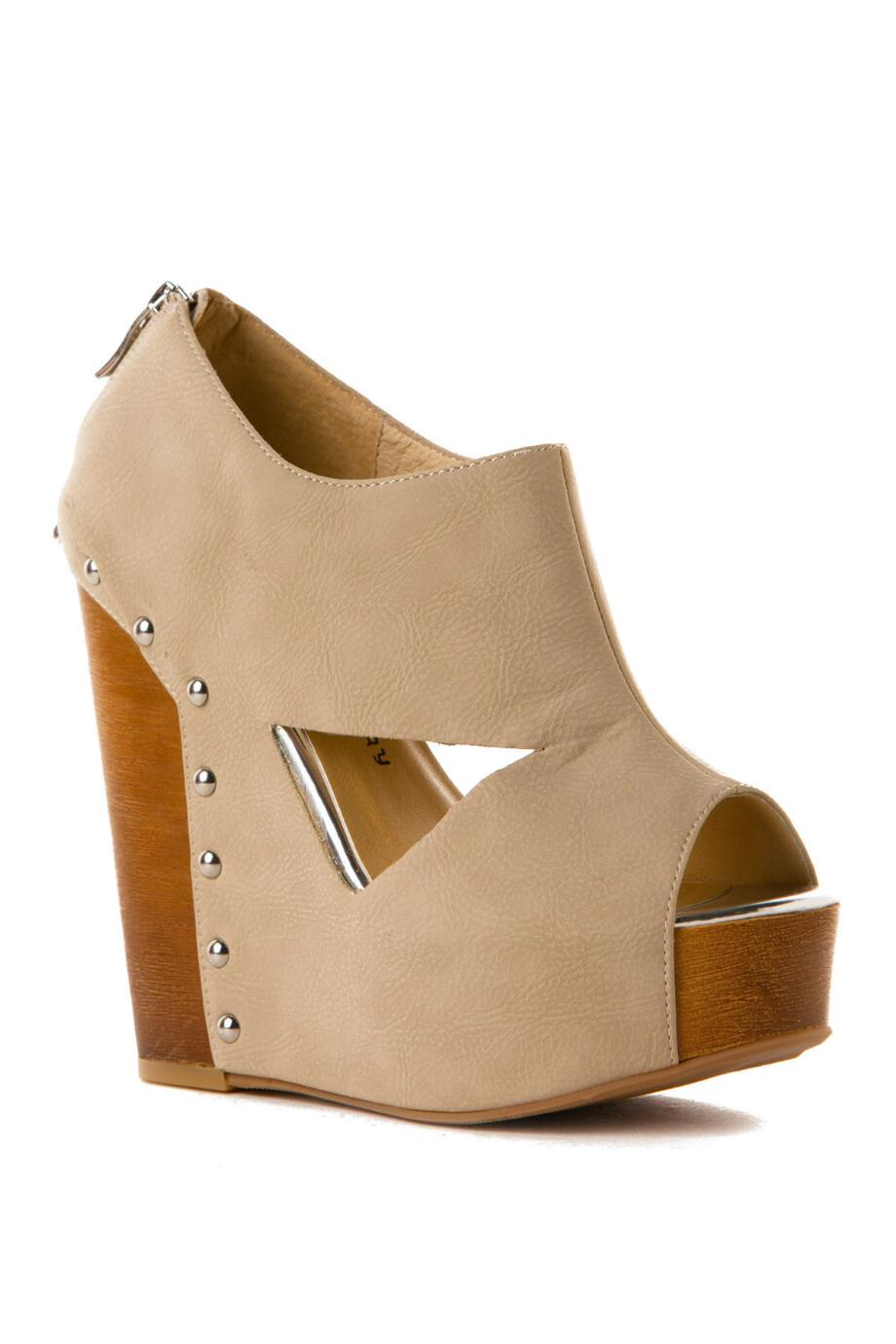 d66d9a011a Chinese Laundry Jam Session Studded Wedge in Beige francesca s
