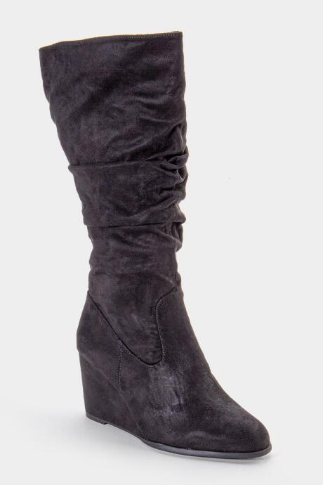 L4L Jewel Scrunched High Shaft Wedge Boot - Black