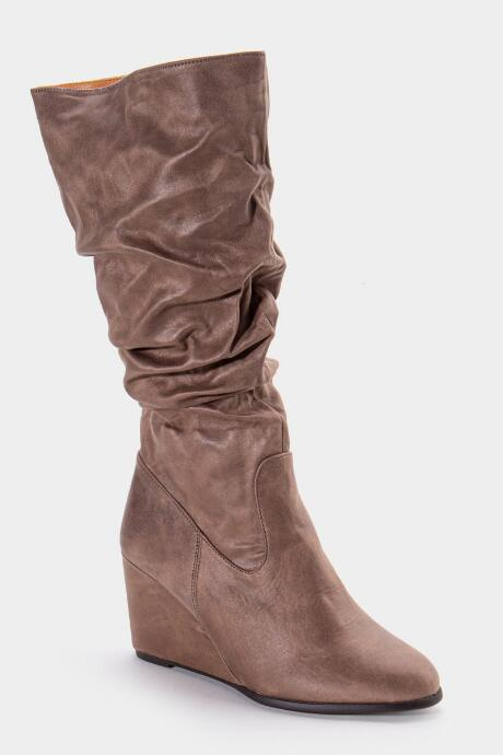 L4L Jewel Scrunched High Shaft Wedge Boot - Taupe