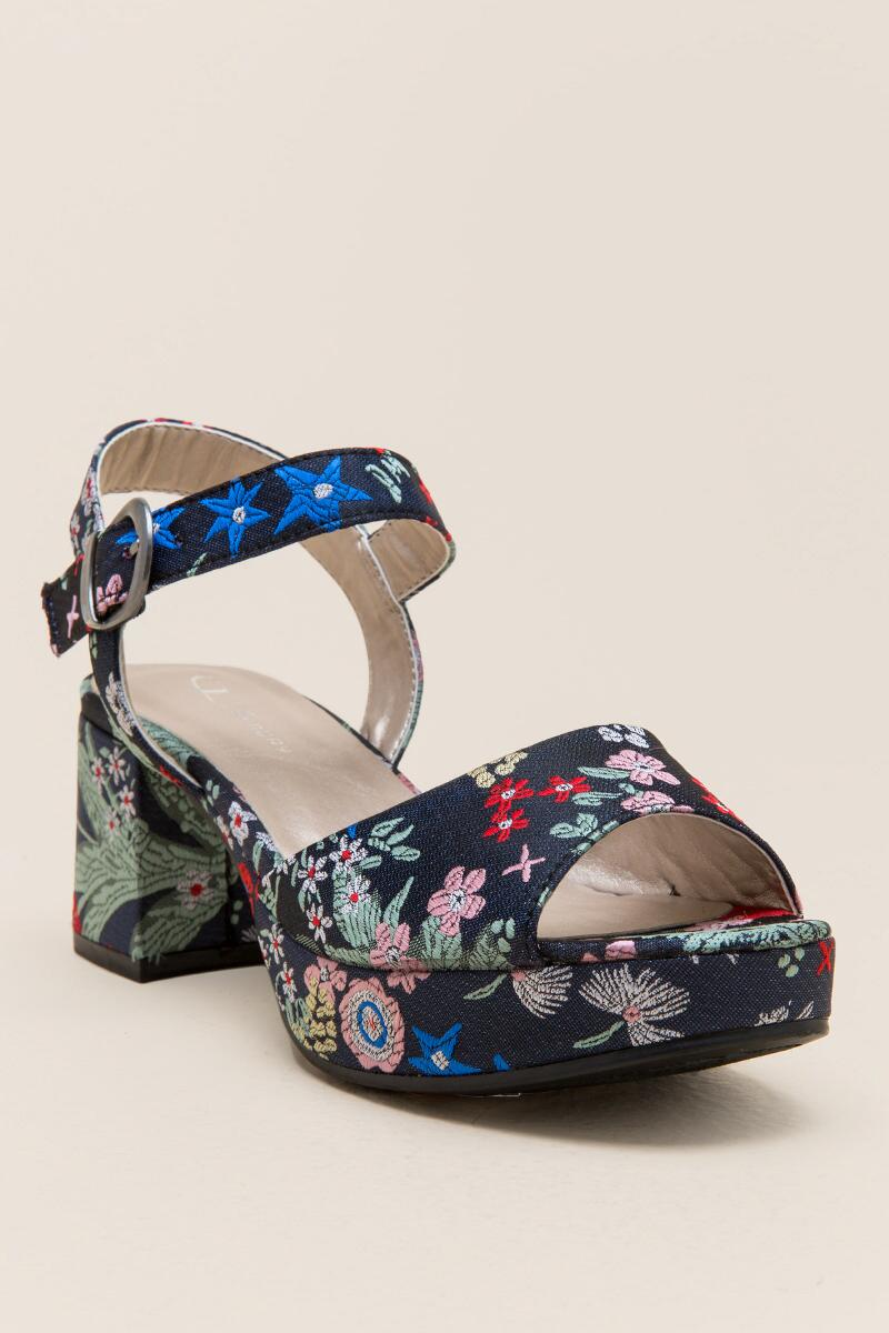 Kensie Embroidered Satin Platform-  navy-cl