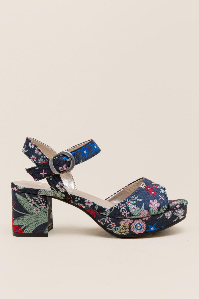 Kensie Embroidered Satin Platform-  navy-clright