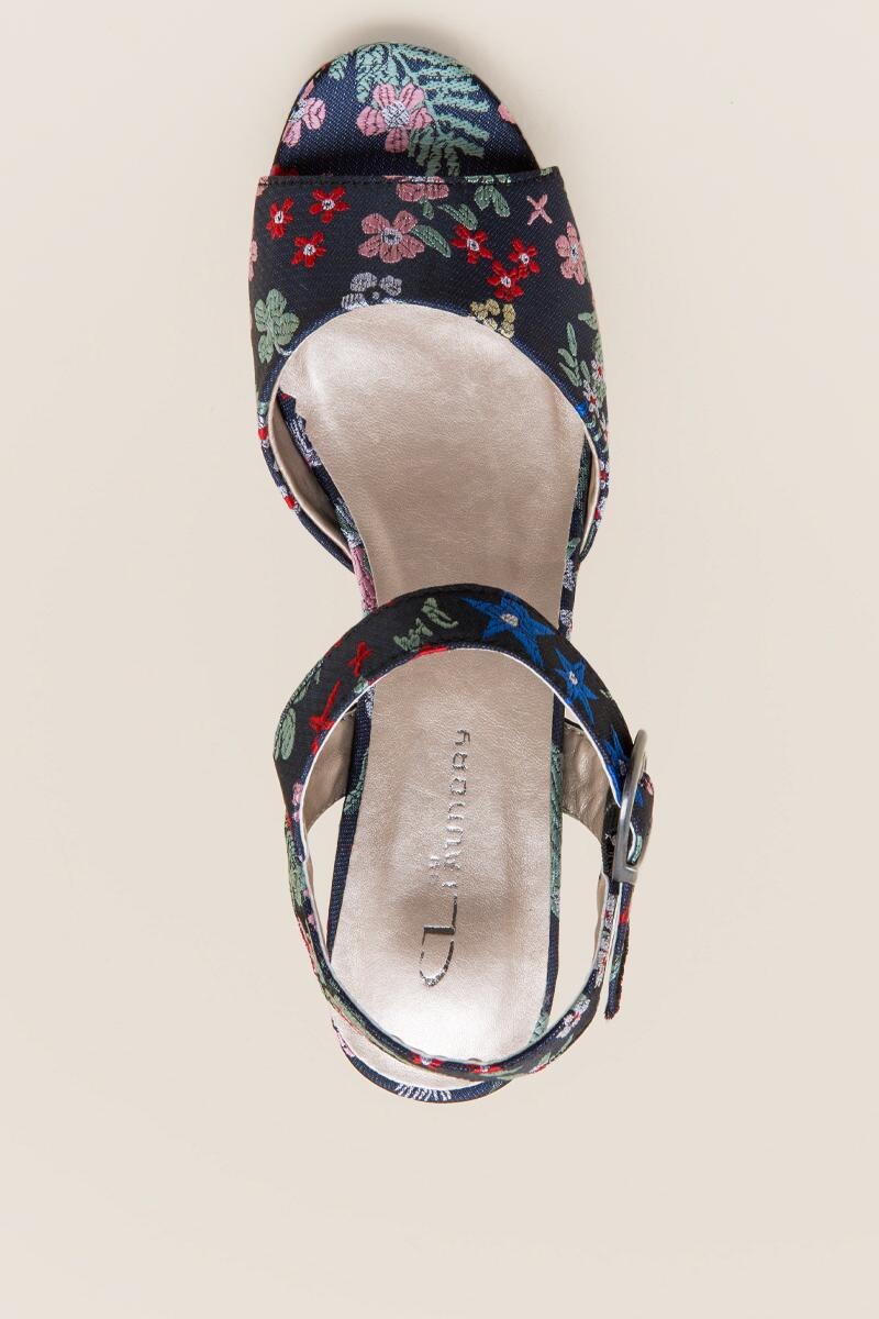 Kensie Embroidered Satin Platform-  navy-cltop