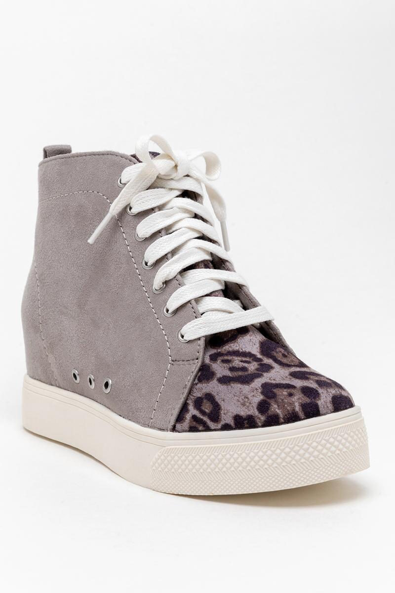 Very G Lets Go Crazy Wedge Sneaker-  gray-cl