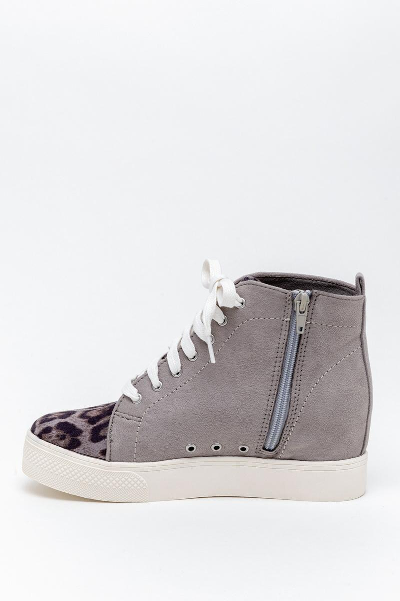 Very G Lets Go Crazy Wedge Sneaker-  gray-cl4