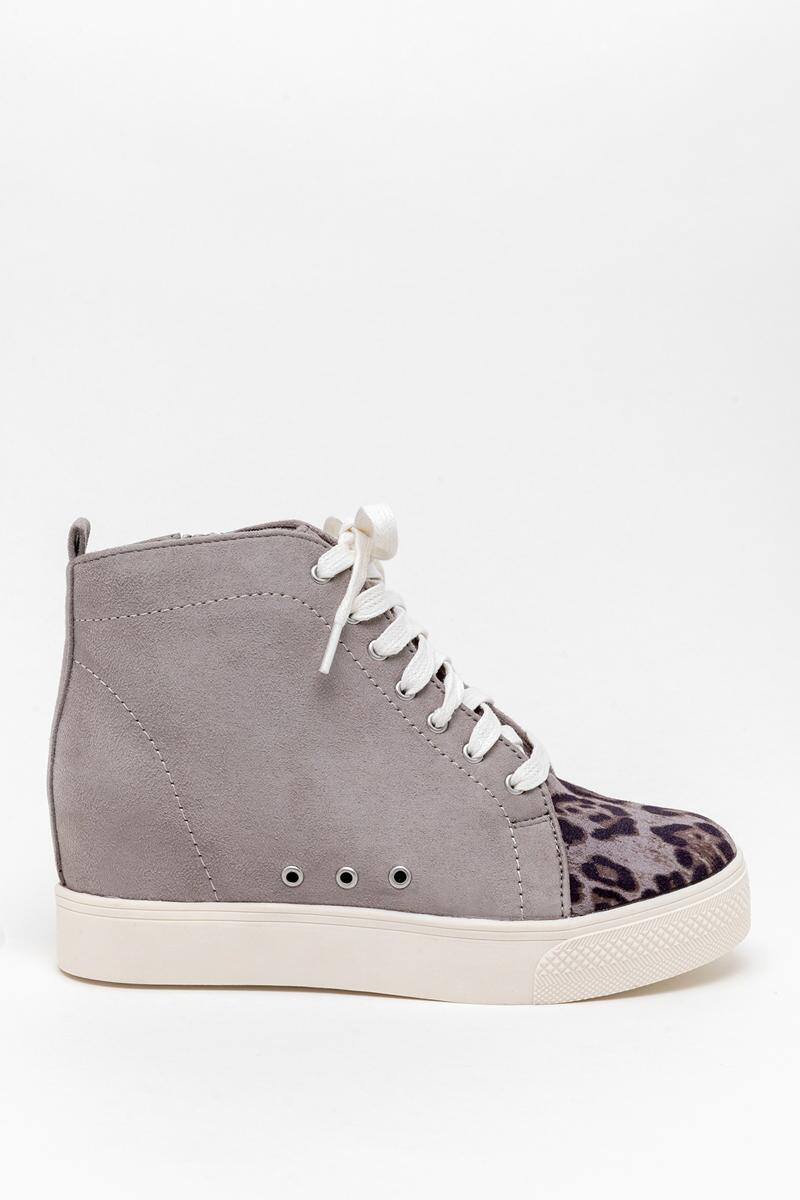 Very G Lets Go Crazy Wedge Sneaker-  gray-cl5
