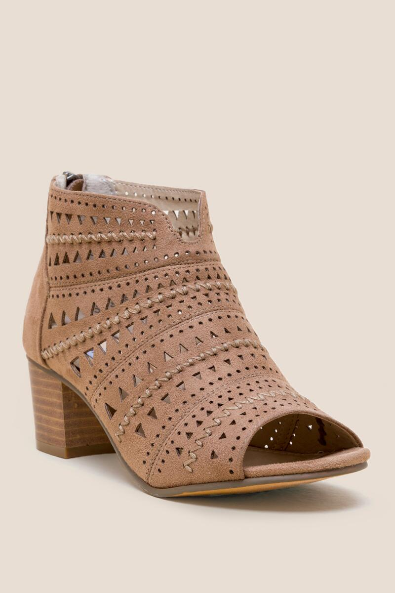Not Rated Luina Peep Toe Low Block Heel- Taupe