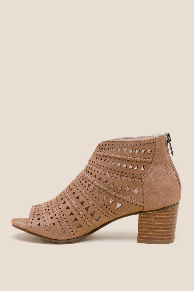 Not Rated Luina Peep Toe Low Block Heel- Taupe left