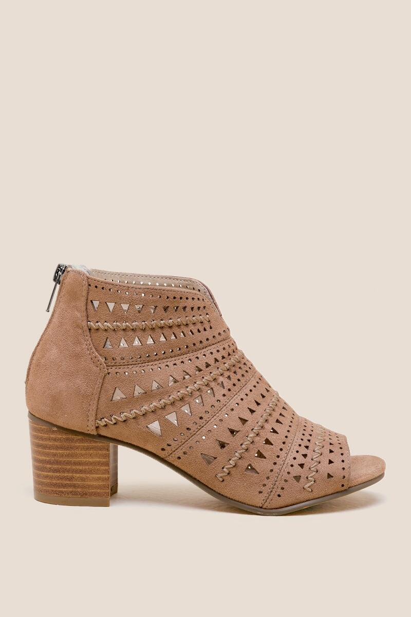 Not Rated Luina Peep Toe Low Block Heel- Taupe right