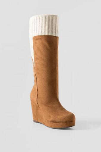 Mamz Wedge Sweater Cuff Boot