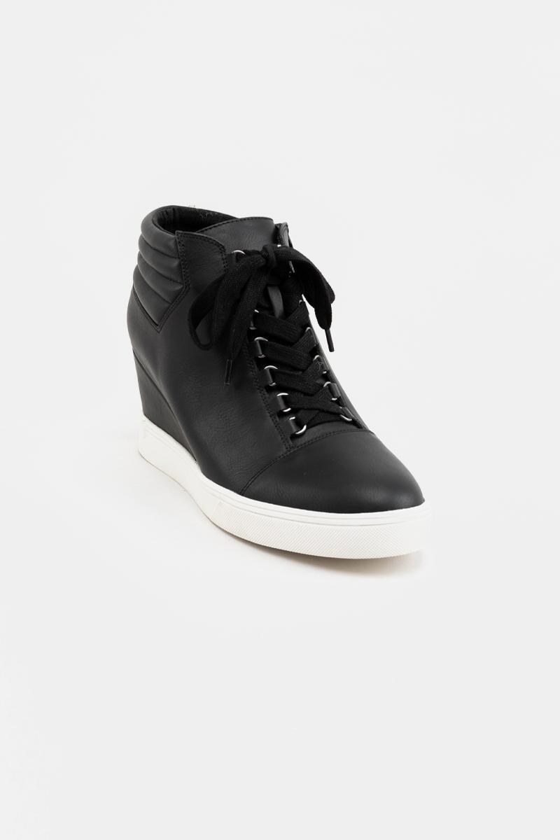 MIA Quilted Back Sneaker Wedge- Black