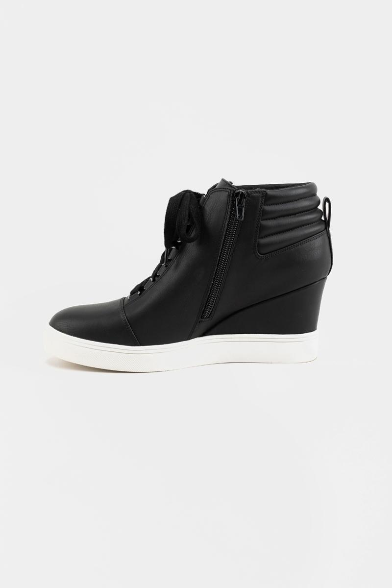 MIA Quilted Back Sneaker Wedge- Black 4