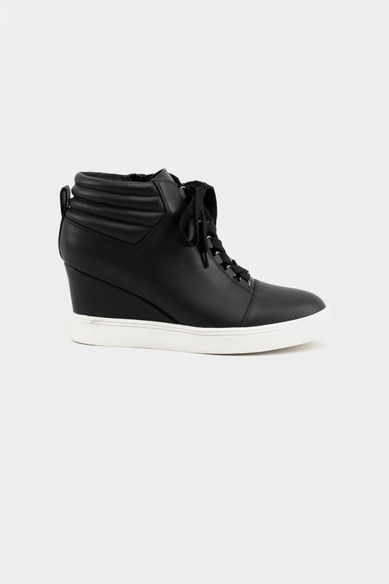 MIA Quilted Back Sneaker Wedge- Black 5