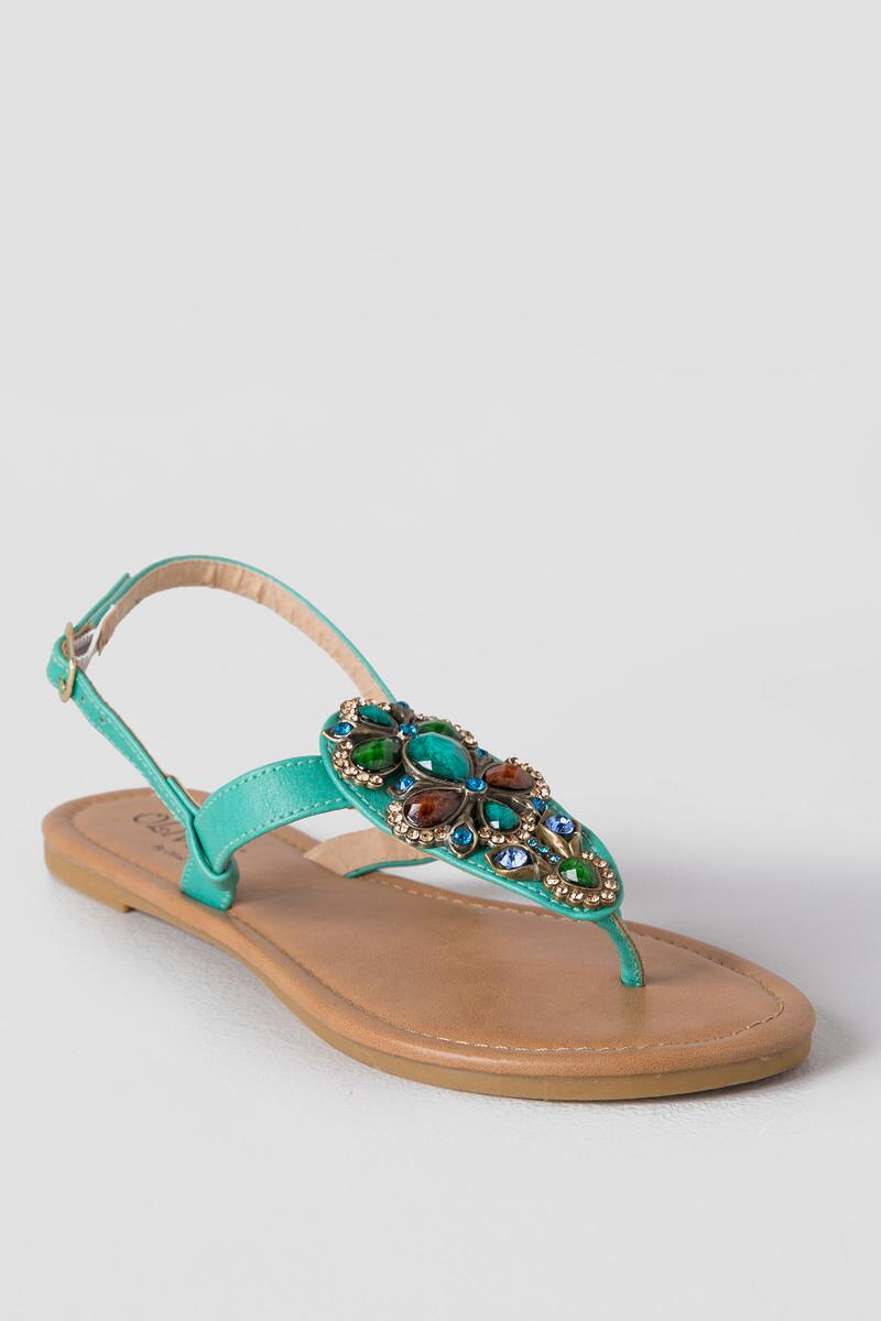 Allie Embellished Sandal-  turq-cl