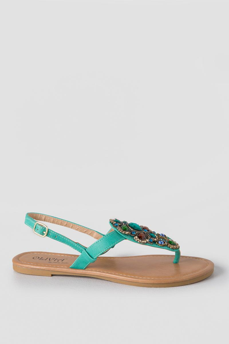 Allie Embellished Sandal-  turq-clright