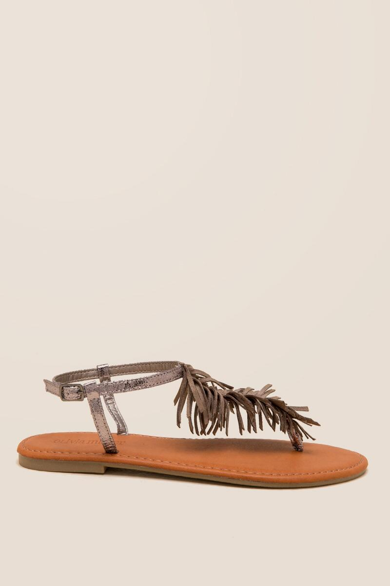 Olivia Fringe T-Strap Sandal-  taup-clright