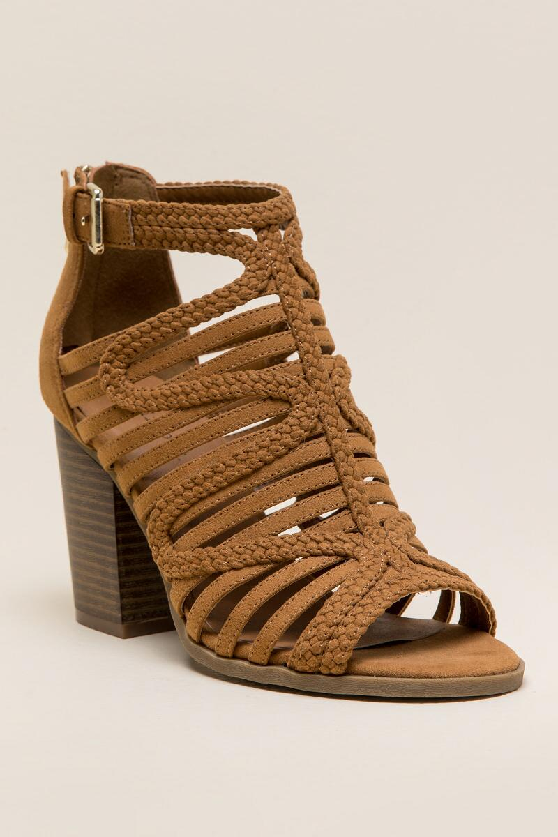 Indigo Rd Paige Caged Block Heel-  tan-cl