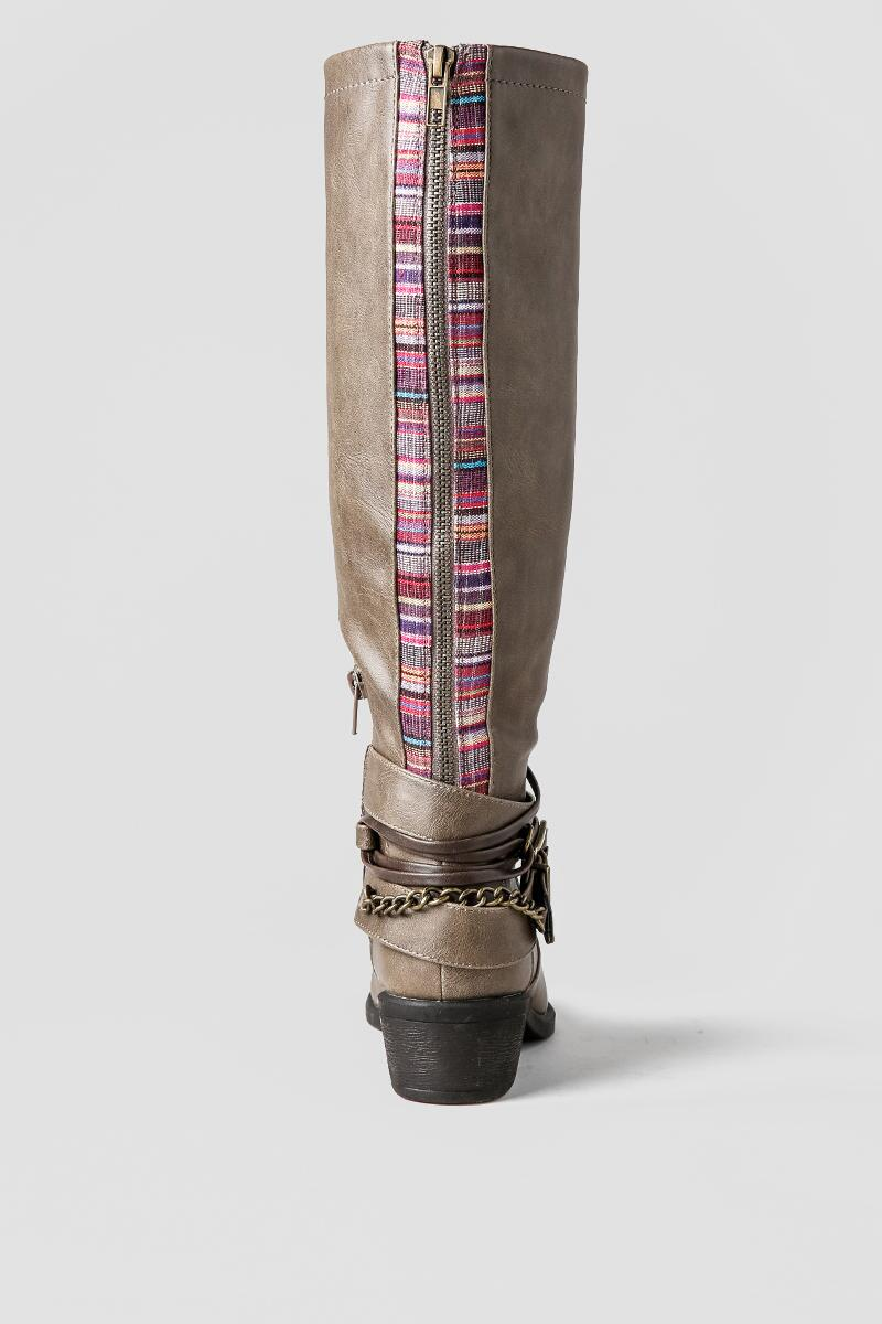 Pink and Pepper Shoes, Robbin Wide Calf Boot-  tan-clback