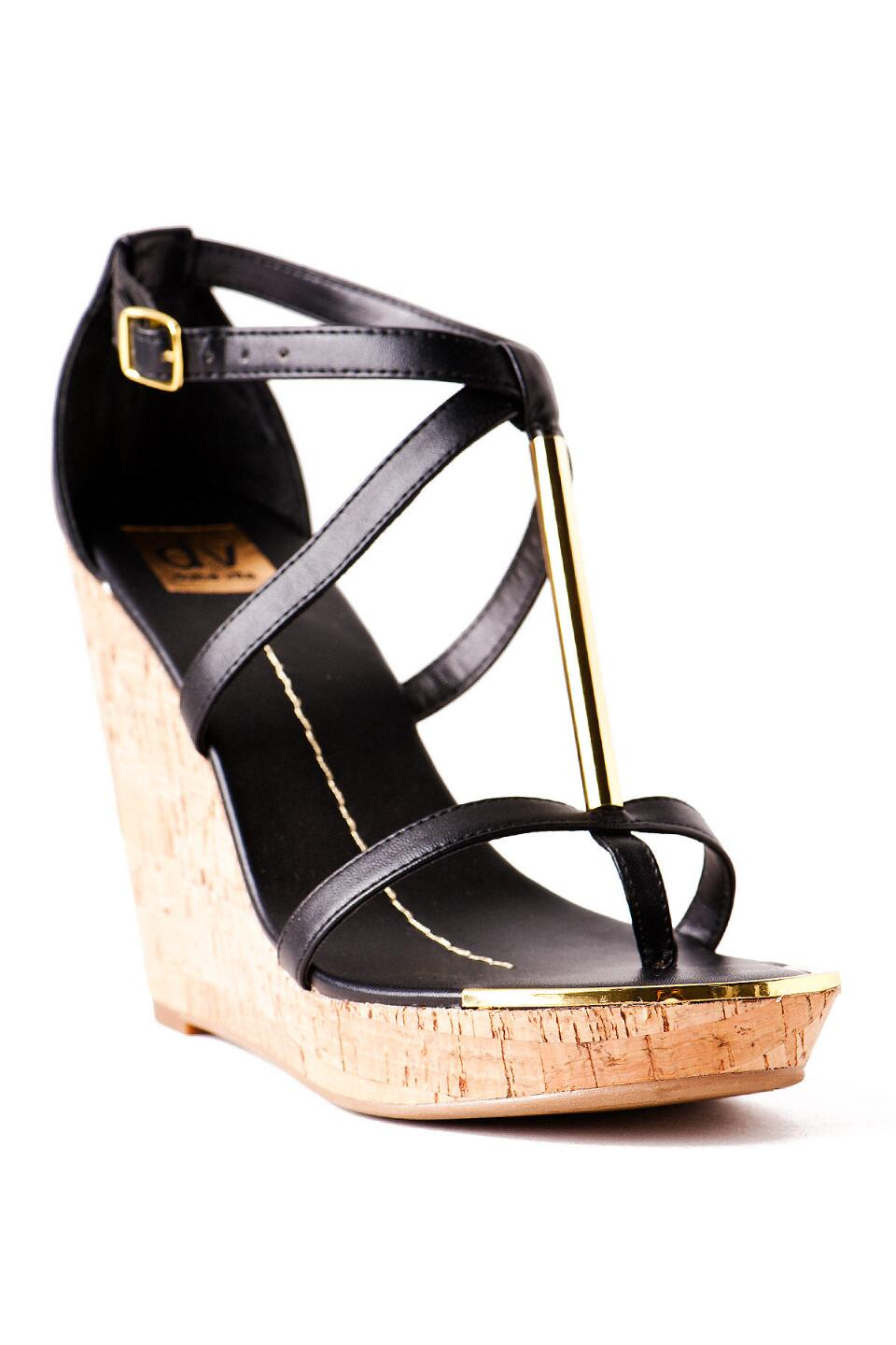 DV by Dolce Vita Shoes, Tremor Cork Wedge in Black-  blk-cl