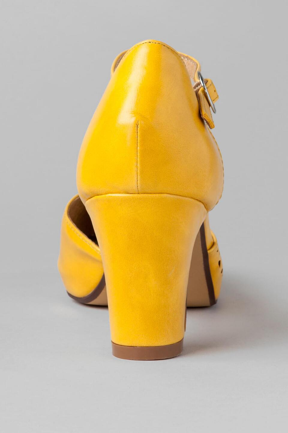 Chelsea Crew Shoes, Turk Cutout Pump in Yellow-  yllw-clback