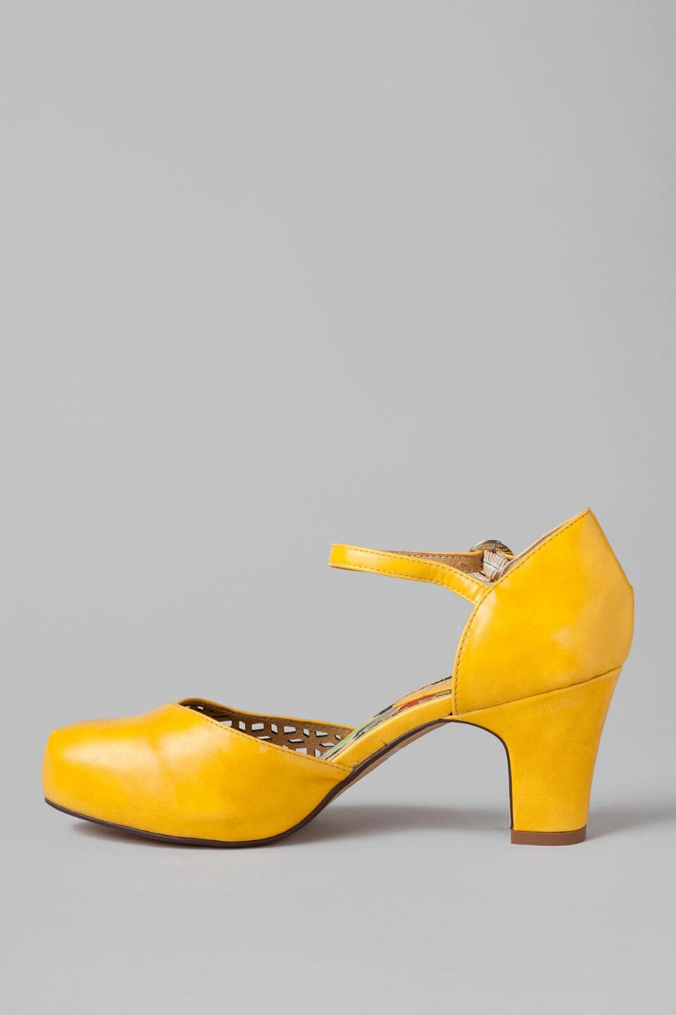 Chelsea Crew Shoes, Turk Cutout Pump in Yellow-  yllw-clleft