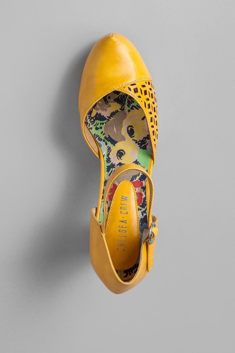 Chelsea Crew Shoes, Turk Cutout Pump in Yellow-  yllw-cltop