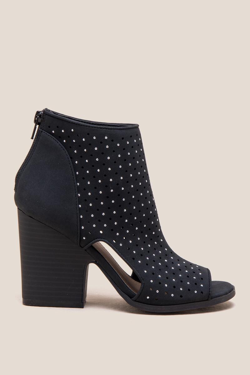 Vali Studded Peep Toe Shootie-  blk-clright