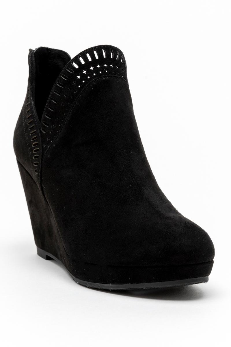 CL by Laundry Vicci Wedge Ankle Boot-Black