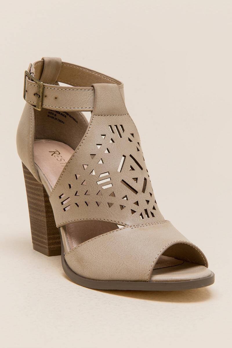Restricted Well Know Laser Cut Chunky Heel-  taup-cl