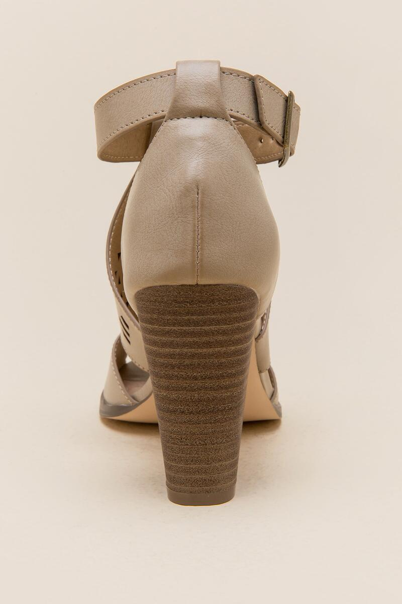 Restricted Well Know Laser Cut Chunky Heel-  taup-clback