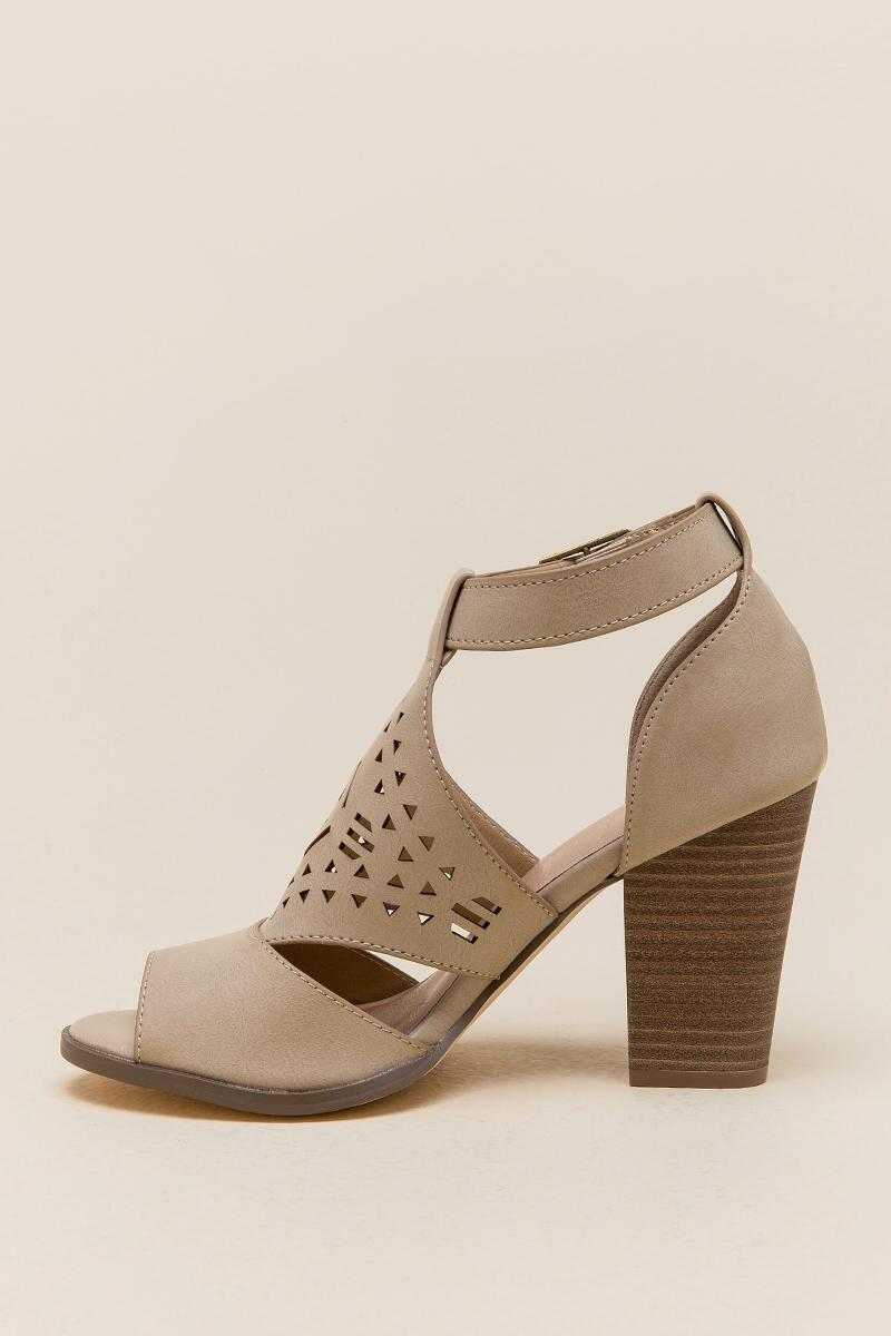 Restricted Well Know Laser Cut Chunky Heel-  taup-clleft