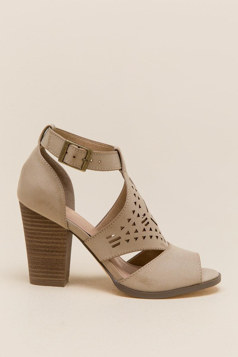 Restricted Well Know Laser Cut Chunky Heel-  taup-clright