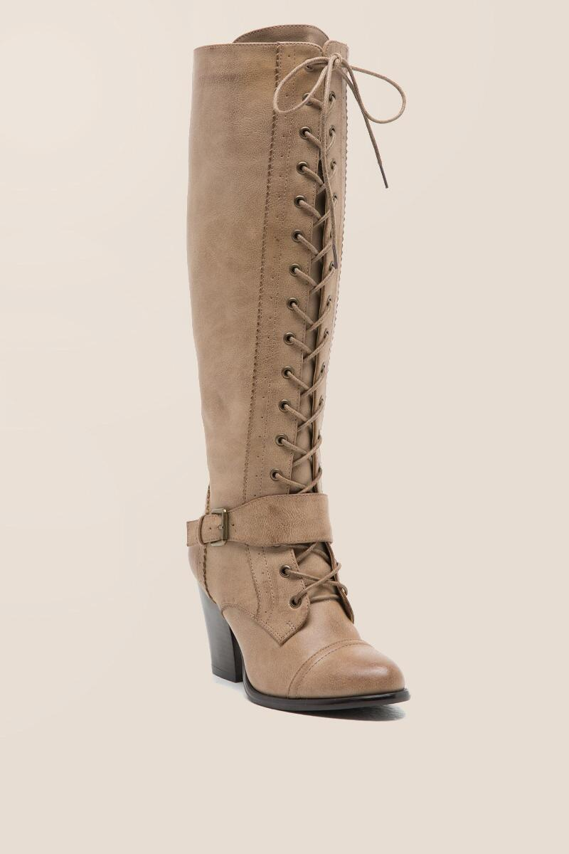 CL by Laundry - With It Lace-Up Buckle Boot-  taup-cl