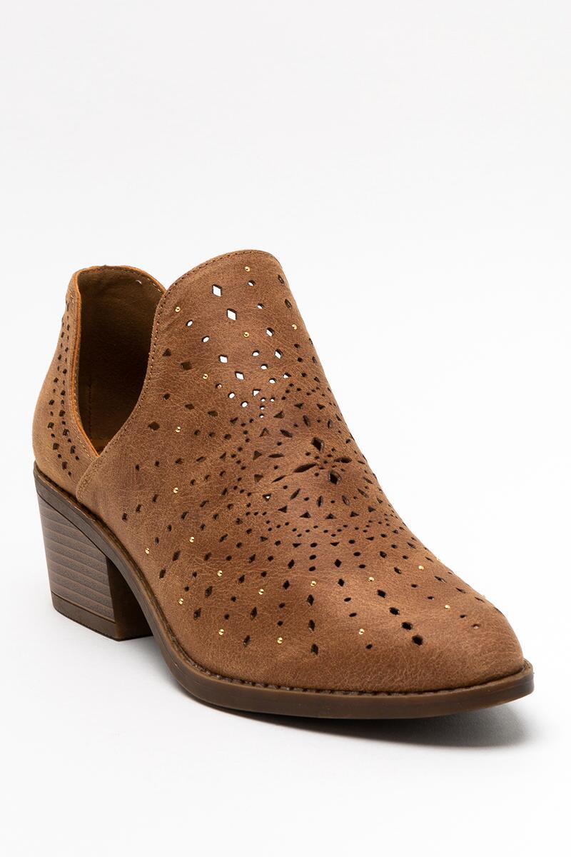 Fergalicious Wyatt Chop Out Ankle Boot- Tan