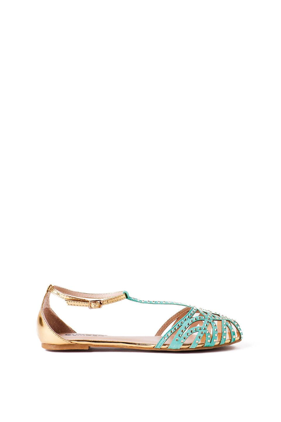 Zaire Rhinestone Caged T- Strap Sandal in Mint-  mint-clright