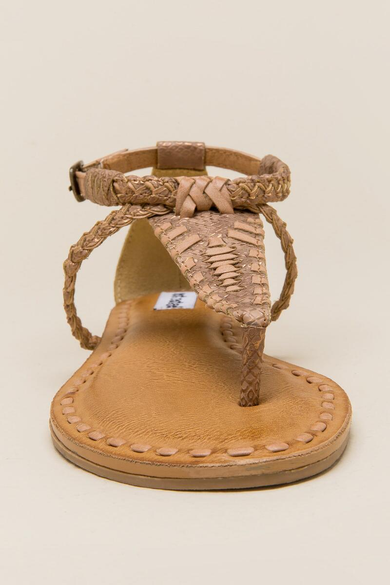 Not Rated Zolin Braided T-Strap Sandal-  nude-clfront