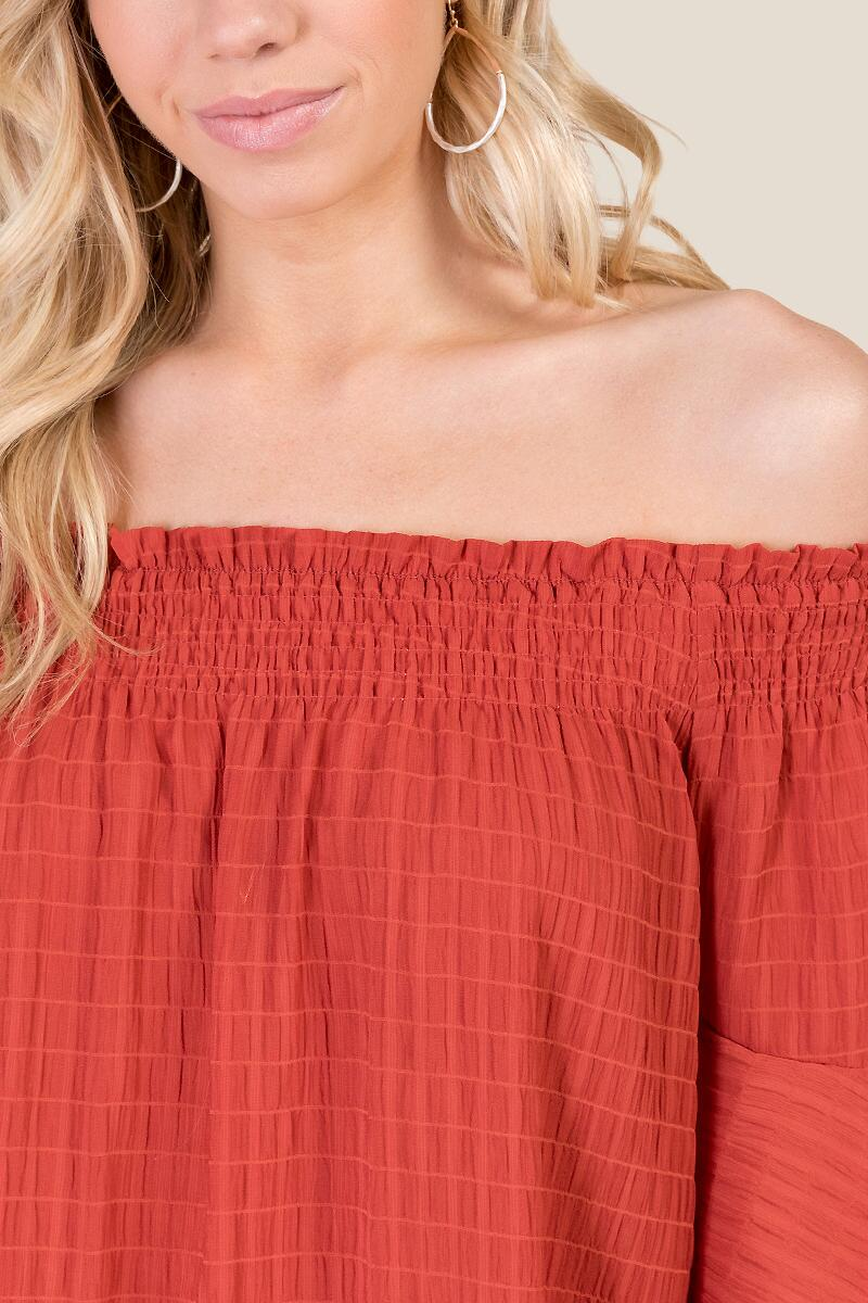 Trinity Smocked Off the Shoulder Blouse-  cinm-cl3