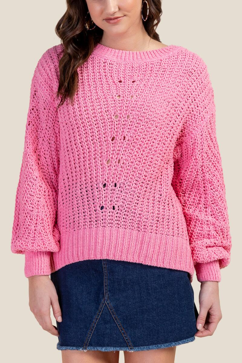 Becca Pointelle Knit Pullover Sweater-  npink-cl