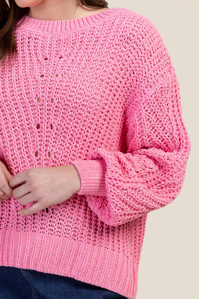 Becca Pointelle Knit Pullover Sweater-  npink-cl3
