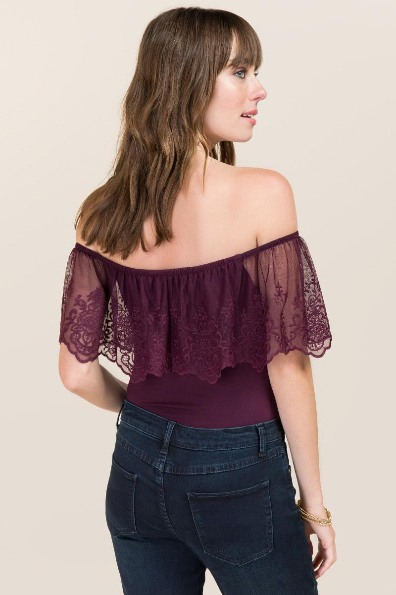 Elicia Off The Shoulder Ruffle Embroidered Bodysuit-  purp-clback