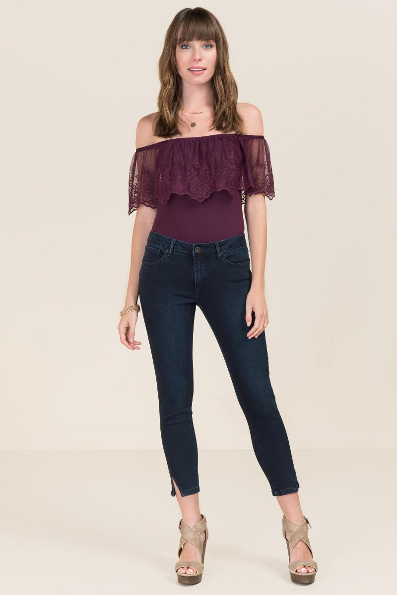 Elicia Off The Shoulder Ruffle Embroidered Bodysuit-  purp-clmodel