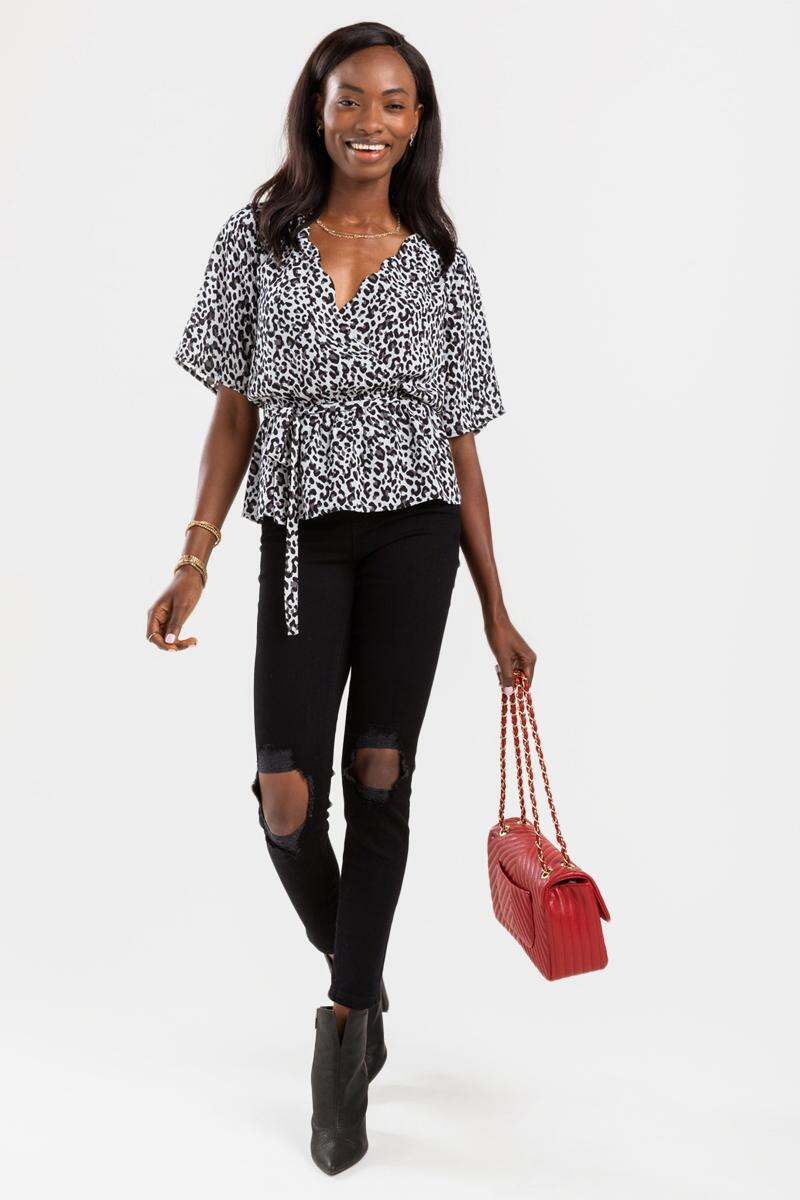 Sandie Printed Scalloped Blouse-Black/White 2