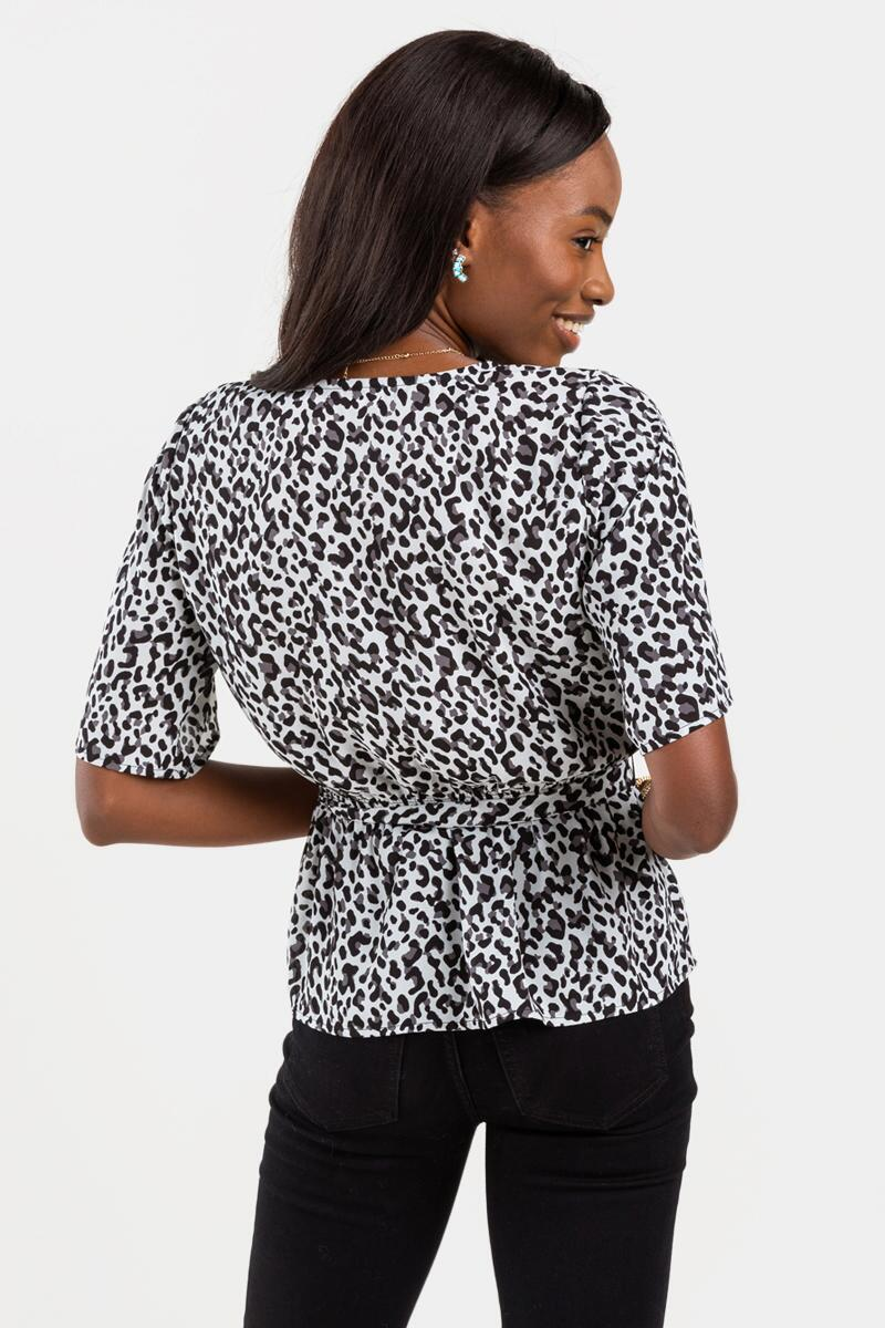 Sandie Printed Scalloped Blouse-Black/White 3