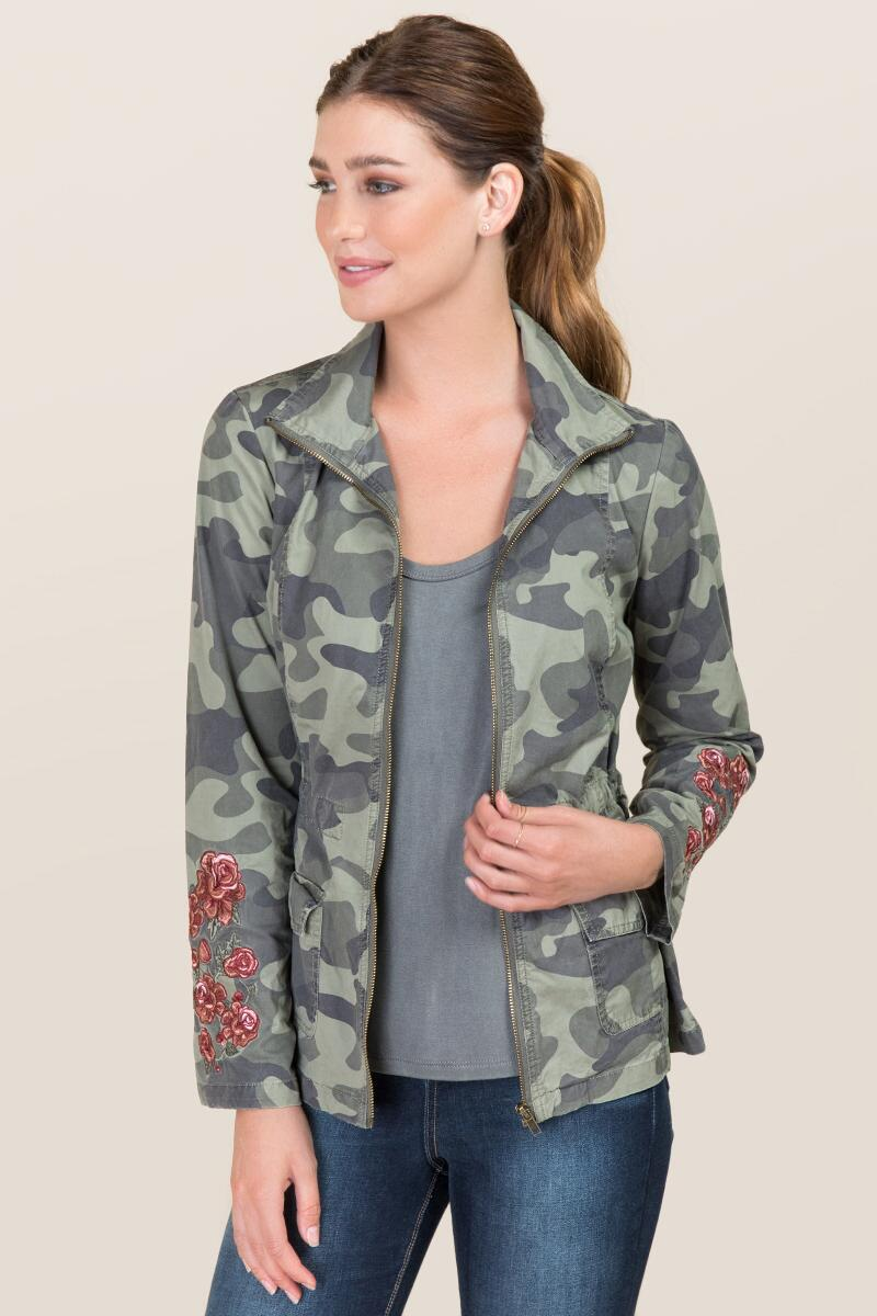 Lianna Camo Floral Embroidered Anorack