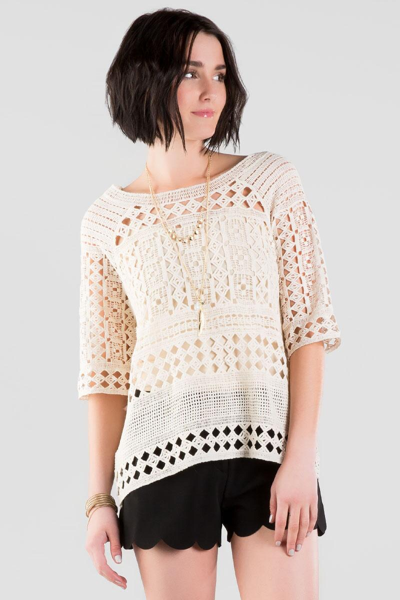 Silva Crochet Top-  taup-cl